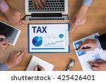 tax    business team hands at...   Shutterstock . vector #425426401