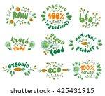 100  fresh  bio  organic  eco... | Shutterstock .eps vector #425431915