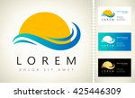 Waves And Sun Logo Vector