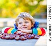 funny little kid boy of 3 years ... | Shutterstock . vector #425448034