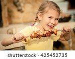 little beautiful smiling girl ... | Shutterstock . vector #425452735