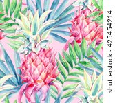 watercolor pink pineapple fruit ... | Shutterstock . vector #425454214