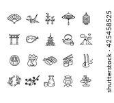 japan icon black outline set.... | Shutterstock . vector #425458525