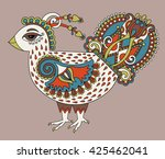 original retro cartoon chicken... | Shutterstock .eps vector #425462041