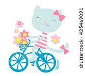Cat On A Bicycle With Flowers...