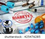 diabetes diagnosis. stamp ... | Shutterstock . vector #425476285