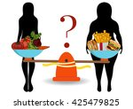 silhouettes of women thin and... | Shutterstock .eps vector #425479825