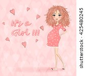 beautiful  cartoon pregnant... | Shutterstock .eps vector #425480245