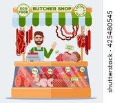 butcher shop with meat seller... | Shutterstock .eps vector #425480545