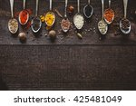 spices and seasoning in spoons...   Shutterstock . vector #425481049