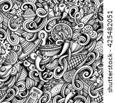 cartoon hand drawn mexican food ... | Shutterstock . vector #425482051