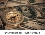 compass on u.s. banknotes... | Shutterstock . vector #425489875