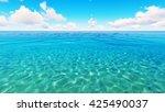 tropical sea sky clouds blue 3d ... | Shutterstock . vector #425490037