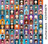 set of people icons in flat... | Shutterstock .eps vector #425494879
