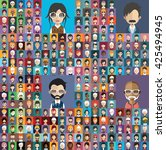 set of people icons in flat... | Shutterstock .eps vector #425494945