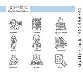 set of modern education simple... | Shutterstock . vector #425496745
