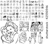 family set of black sketch.... | Shutterstock .eps vector #42550546