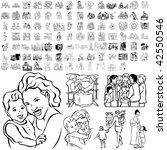 family set of black sketch.... | Shutterstock .eps vector #42550546