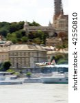 BUDAPEST - AUGUST 18: Hannes Arch performs flight at Red Bull air race on August 18, 2008 in Budapest, Hungary. - stock photo