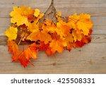 Autumn Leaves On Wood. Fall...