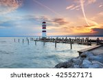 lighthouse at sunset in... | Shutterstock . vector #425527171