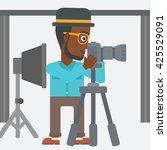an african american... | Shutterstock .eps vector #425529091