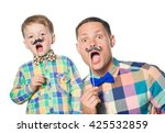 happy father and son playing... | Shutterstock . vector #425532859