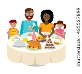 happy multicultural family... | Shutterstock .eps vector #425537899
