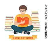 young man reading . vector... | Shutterstock .eps vector #425540119