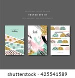 set of greeting cards with... | Shutterstock .eps vector #425541589