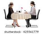 young man and woman on a blind... | Shutterstock . vector #425561779