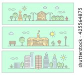 vector city illustration in... | Shutterstock .eps vector #425564875