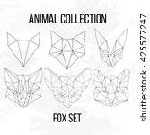set of geometric fox head... | Shutterstock . vector #425577247