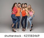 group of smiling friends in... | Shutterstock . vector #425583469
