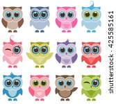 funny owls and owlets set.... | Shutterstock . vector #425585161