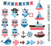 sailor owls  fish and water... | Shutterstock . vector #425585185