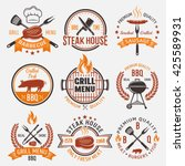 bbq retro style emblems with... | Shutterstock .eps vector #425589931