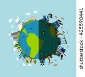 environmental pollution poster... | Shutterstock .eps vector #425590441