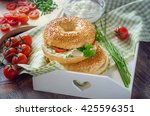 bagels sandwiches with cream... | Shutterstock . vector #425596351