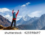 hiker cheering elated and... | Shutterstock . vector #425598697