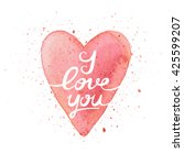 handmade watercolor postcard... | Shutterstock .eps vector #425599207