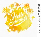 hello summer watercolor... | Shutterstock .eps vector #425599837