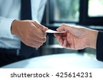 business executive exchanging... | Shutterstock . vector #425614231