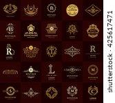 line graphics monogram. vintage ... | Shutterstock .eps vector #425617471