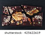 chocolate with dried fruit and... | Shutterstock . vector #425622619