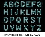 glowing cyan blue neon alphabet ... | Shutterstock .eps vector #425627101