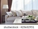modern living room design with... | Shutterstock . vector #425632951