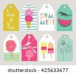 set of beautiful summer gift... | Shutterstock .eps vector #425633677