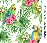 bright pattern with parrots ... | Shutterstock . vector #425644651
