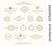 set of elegant floral monograms ... | Shutterstock .eps vector #425662045